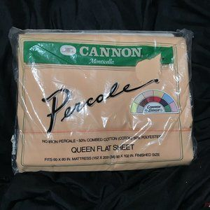 Vintage Cannon Monticello Peach Queen Flat Sheet